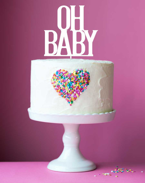 OH BABY! Perspex Acrylic Baby Shower Cake Topper
