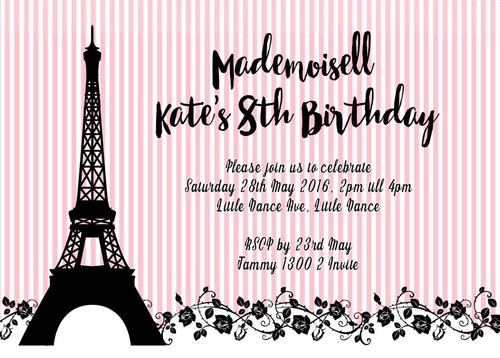 Pink French Inspired Eiffel Tower invitation