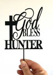 God Bless with Custom Name and Cross Cake Topper
