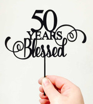 50 Years Blessed Anniversary Cake Topper