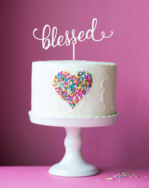 "Blessed Cake Topper - Cake Decoration with the word ""Blessed"""
