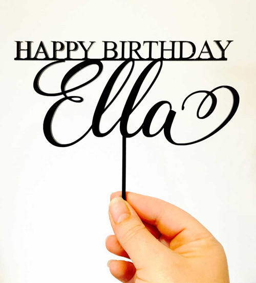 Custom Name and Happy Birthday Cake Topper - Personalised cake decoration made in Australia