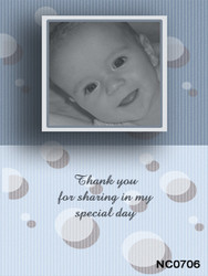 Custom designed photo invitations for a christening