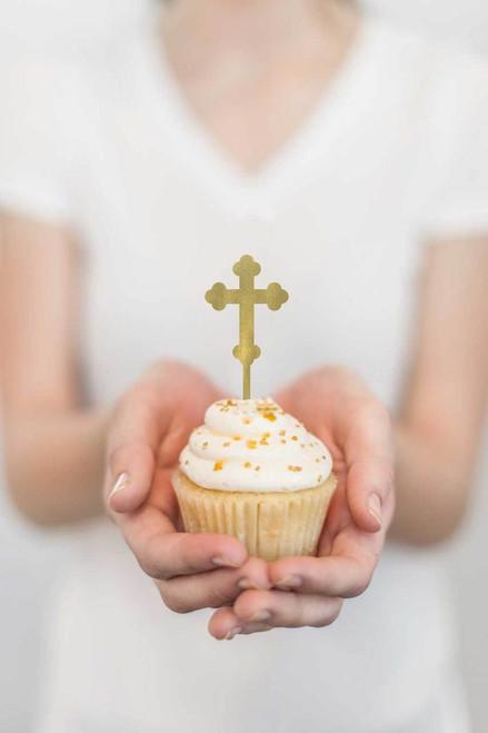 Gold cross cupcake toppers  laser cut Gold Greek Orthodox Cross cupcake decorations - laser cut in Melbourne Australia