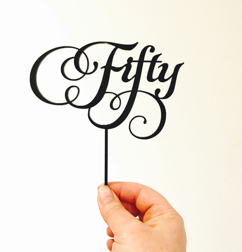 50th birthday cake topper or cake decoration in a beautiful flowing script