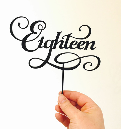 Eighteenth, 18th, Birthday Cake Topper Decoration using the word Eighteen in a flowing script