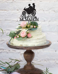 Wedding Motorbike Cake Topper - Motorcycle or Motorcyclist wedding or engagement cake decoration