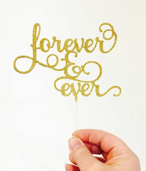 Forever & Ever Wedding Cake Topper in Gold Glitter