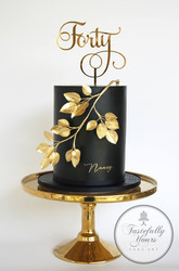Gold Mirror Forty Cake Topper, Cake by Tastefully Yours Cake Art