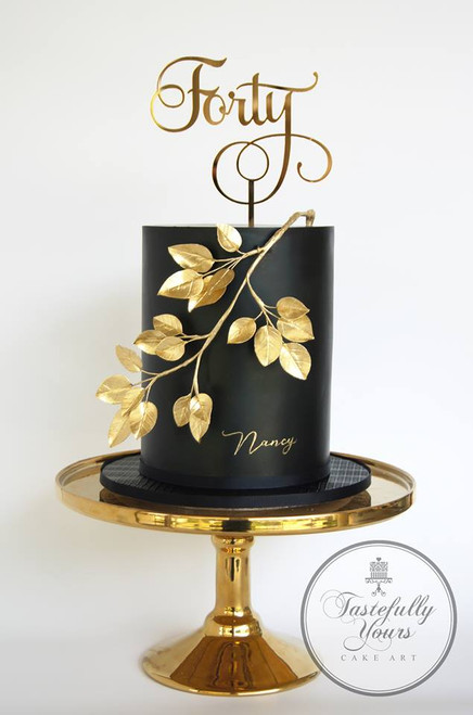 Gold Mirror Forty Cake Topper, Cake by Tastefully Yours Cake Art. 40th birthday cake decoration