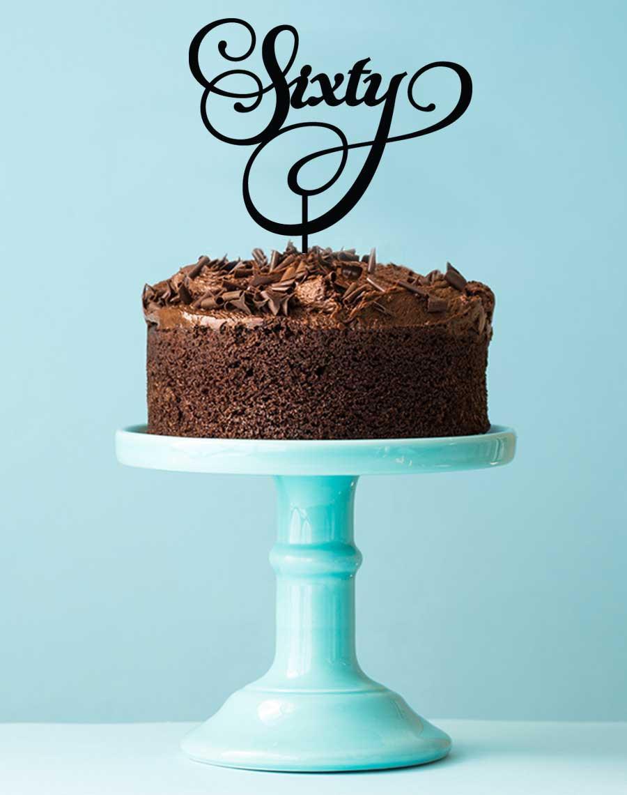 Sixtieth Birthday Cake Topper 60th Decoration