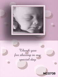 Baby girls custom baptismal or christening photo invites