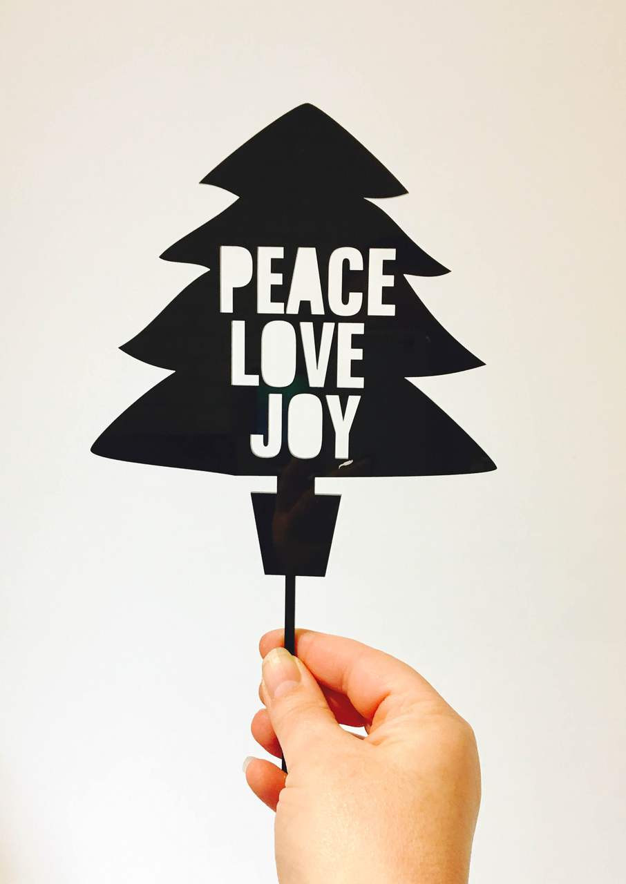 Peace Christmas Tree Topper.Christmas Cake Topper Peace Love And Joy Tree