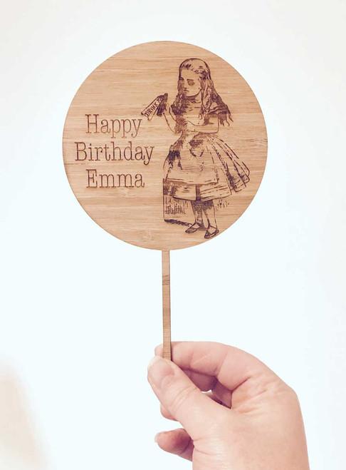 Alice in Wonderland Bamboo Wooden Birthday Cake Topper