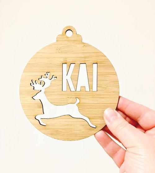Personalised Bamboo Christmas Decoration