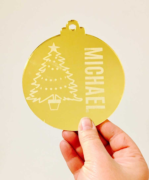 Gold Engraved Christmas Tree Decoration