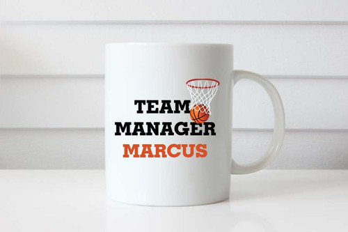 Basketball Team Manager Gift Personalised Coffee Mug - Custom Basketball Team Manager Present Name Coffee Cup