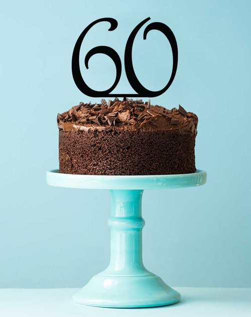 Number 60 cake topper - 60th birthday cake decoration - Laser cut - Made in Australia