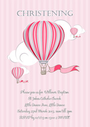 Personalised christening invitation featuring a hot air balloon. Girls invitation design