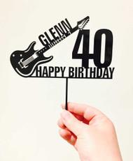 Custom name electric guitar birthday cake topper - Personalised electric guitar cake decoration. Laser cut in Australia