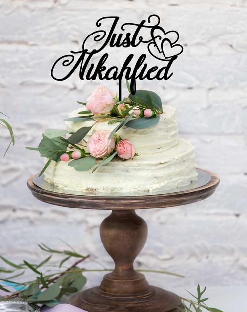 Just Nikahfied Cake Topper for Nikah Ceremonies, Muslim Weddings, or Islamic Wedding Ceremonies