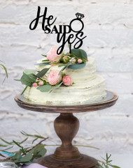 He Said Yes Engagement Cake Topper Decoration