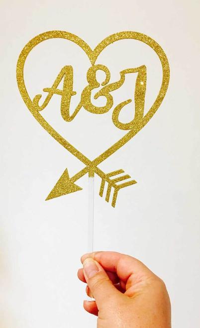 Custom Initials inside heart wedding cake topper - Romantic Personalised wedding cake decoration