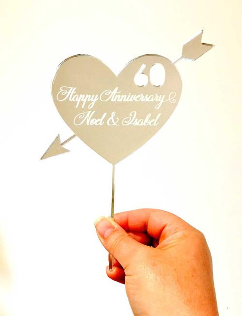 Anniversary Engraved Heart cake topper