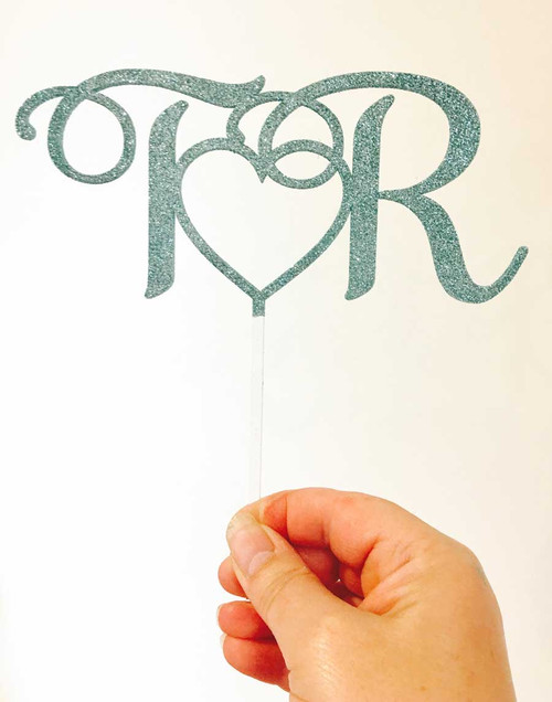 Love Heart and Initials Romantic Wedding & Engagement Cake Toppers Decorations - Laser Cut in Australia