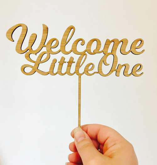 Welcome Little One Baby Shower Cake Topper. Laser cut cake decoration