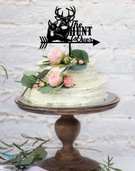 The Hunt is Over Deer Wedding Cake Topper - Laser Cut Hunt is Over Deer and Stag Wedding Cake Decoration. Laser cut in Australia