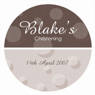 Personalised baptism or christening labels - brown spots theme. Personalised christening supplies range