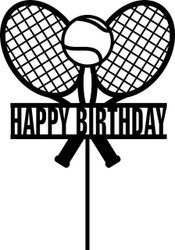 Tennis themed Happy Birthday Cake Topper - Two Tennis Racquets Tennis Happy Birthday Cake Decoration - Made in Australia