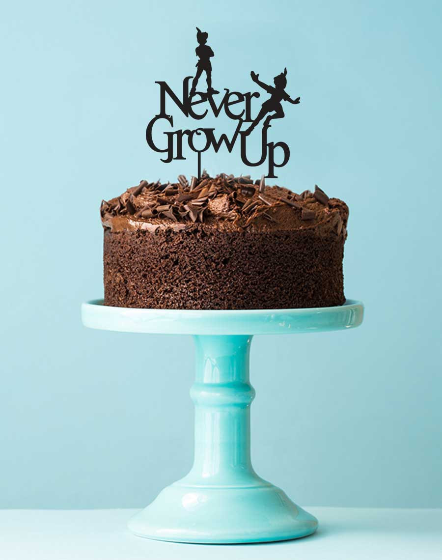 Brilliant Peter Pan Birthday Cake Topper Never Grow Up Laser Cut Peter Funny Birthday Cards Online Benoljebrpdamsfinfo