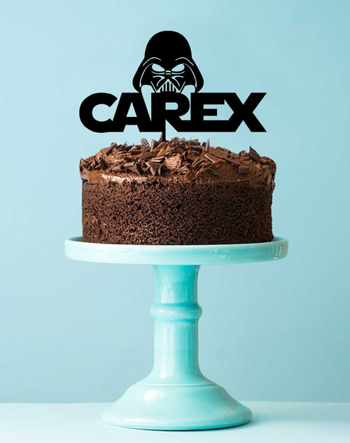 Personalised Star Wars Cake Topper with Darth Vader - Cake Decoration with Name - Made in Australia