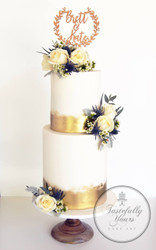 Tastefully Yours Wedding Cake with Wedding Wreath topper