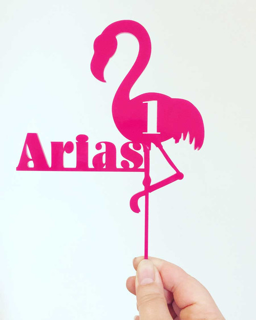 Pink Flamingo Cake Topper - Personalised Pink Flamingo Laser Cut Cake Decoration