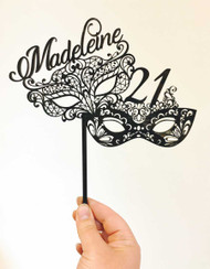 Personalised Masquerade Party Mask Cake Topper or Birthday Cake Decoration. Made in Australia