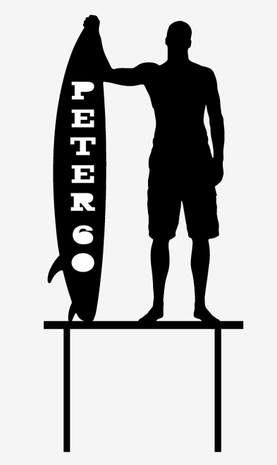 Surfer with surfboard cake topper - Personalised surfing birthday cake decoration - Made in  Australia - Laser Cut