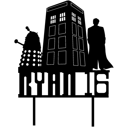 Personalised Dr Who Birthday Cake Topper - Custom Doctor Who, Tardis and Dalek Cake Decoration