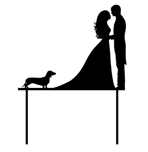 Wedding Couple with Dachshund Wedding Cake Topper - Wedding Cake Decoration