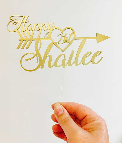 Name & Age with Arrow Birthday Cake Topper (Metallic Gold) - custom name and age birthday cake decorations