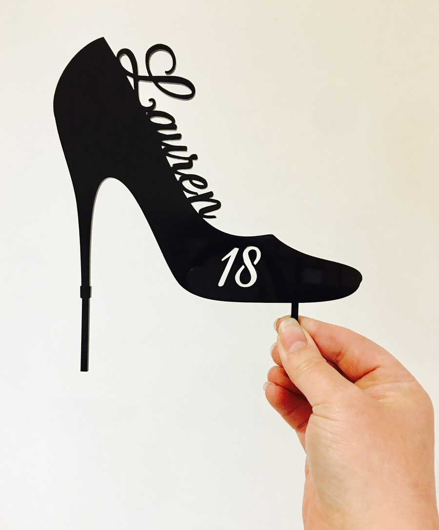 Tremendous Personalised High Heel Birthday Cake Topper Custom Stiletto High Birthday Cards Printable Opercafe Filternl