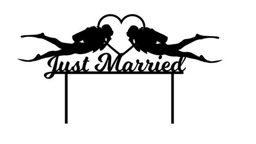 Just Married Scuba Divers Cake Decoration - Romantic scuba diving wedding cake topper