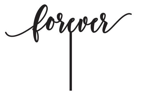 Forever script wedding cake topper