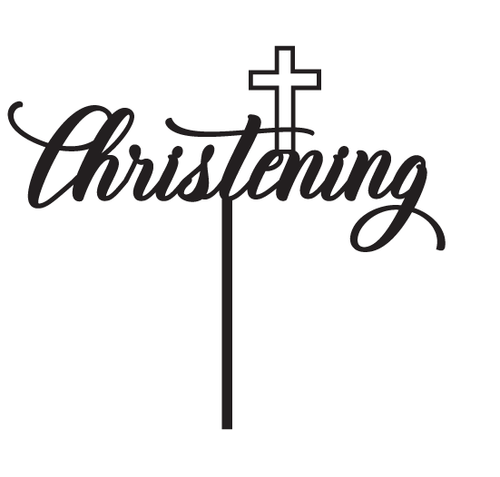 Generic Christening Cake Topper with Cross