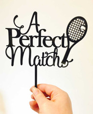 A Perfect Match Tennis Wedding Cake Topper - Tennis themed engagement cake decoration