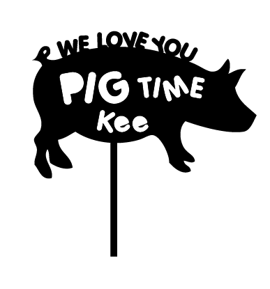 We Love you Pig Time personalised cake decoration