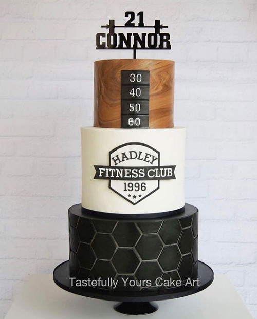 Weight barbell gym personalised cake topper. Made in Australia