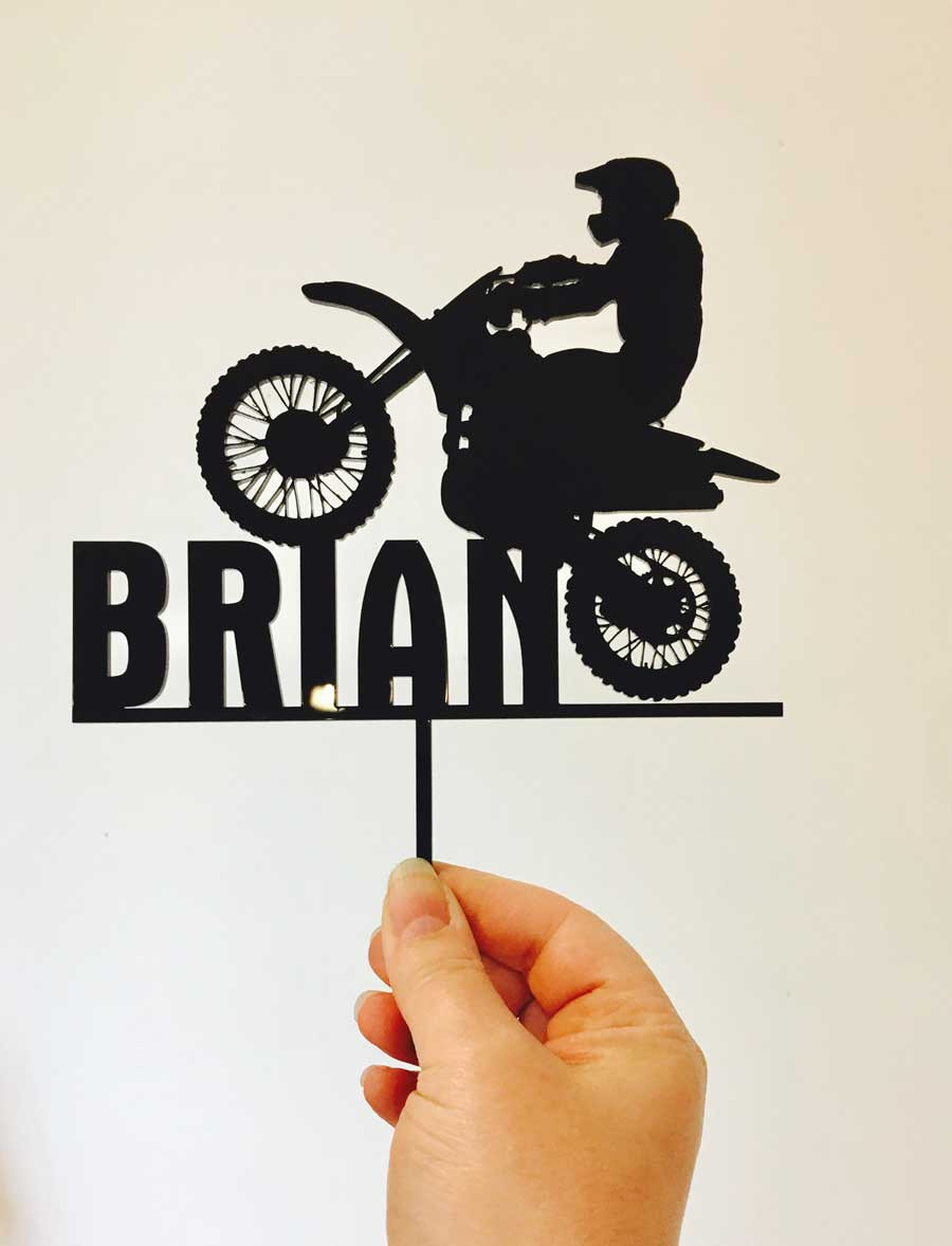 Acrylic Cake Topper Dirt Bike With Name